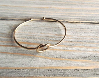 Gold Knot Bangle, Gold Love Knot Bracelet, Gold Bangle, Minimal Bracelet, Twisted Bracelet, Boho Jewelry, Adjustable Bracelet, Festival Wear