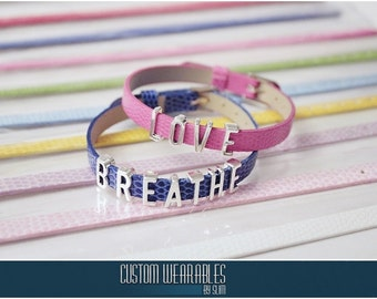 CUSTOM Slider Letter Bracelets! (Lots of colors to choose from!)