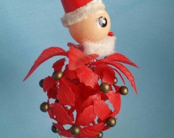 Vintage Ornament; Kitsch Santa 1950's; Chenille Accents; Christmas Ornaments Original String; Excellent Condition; Plastic