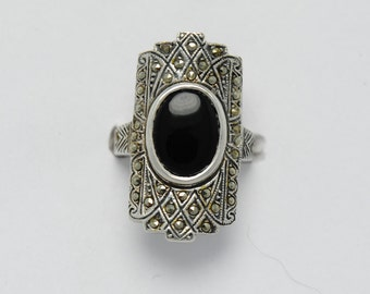 Vintage onyx ring marcasite and sterling silver, silver onyx ring, onyx silver ring, onyx rings, onyx and marcasite, onyx, vintage