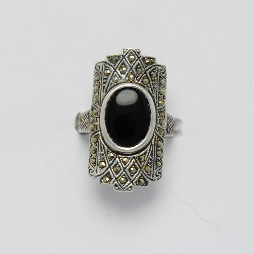vintage onyx ring marcasite and sterling silver silver onyx