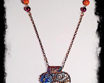 Polymer clay swarovski crystal pendant necklace