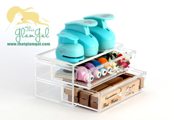 acrylic craft drawers 2 small drawers arts crafts storage. Black Bedroom Furniture Sets. Home Design Ideas