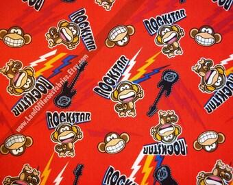 Rockstar Monkey on Cotton Fabric fro David Textiles - By the Fat Quarter, Half-Yard or Yard