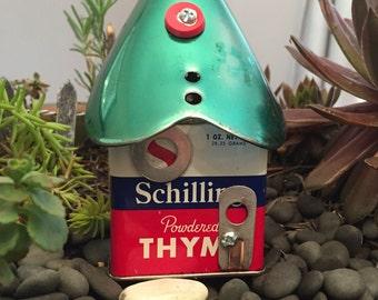 Thyme in the Garden - Gnome Home - Fairy Garden Assemblage Tin House