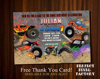 Monster Truck Invitation, Truck invitation, Monster truck birthday, Monster Truck Party,Printable invitation, Custom Invitation,