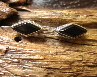 Black Onyx & Sterling Silver Marquise Earrings