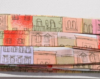 Multicolored Building Patterned Double Fold Half Inch Handmade Crossgrain Trim