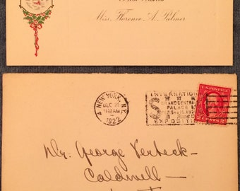 Antique 1922 Christmas Card with Envelope and 2 Cent George Washington Stamp New York NY