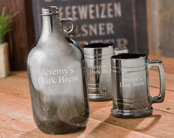 Personalized Beer Growler Set with Two Beer Steins - Gunmetal - Beer Gifts