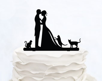 Wedding Cake Topper With three Cats_Bride And Groom Couple Silhouette_Custom Cake Topper_bridal show topper personalized