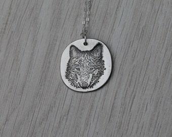 Wolf fine silver pendant