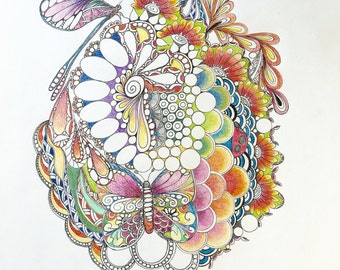 Zentangle insect abstract,insect art,Zentangle abstract,colored zentangle,ink colored pencils,wall art,wall decor