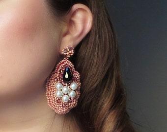 Pink chandelier earrings / Blush pink stand out earrings / Pearl Jewellery Earrings / Bead embroidery earrings / Wife gift earrings