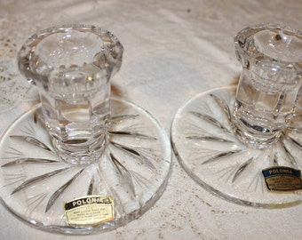 1950's 24% Lead Crystal Polania Hand Cut Candlestick Holders Pinwheel and Star