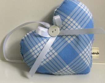 Blue Fabric Heart ~ Blue Checked Fabric Heart Door Hanging ~ Shabby Chic Heart ~ Vintage Style Heart ~ Hanging Fabric Heart.