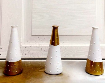 Milk colored, gold accented vases, Set of 3