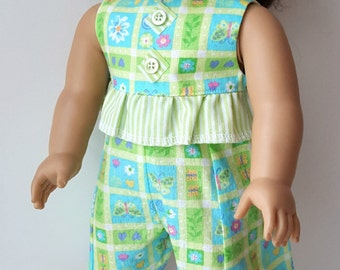 Blue & Green Floral Print Romper made to fit 18 inch dolls