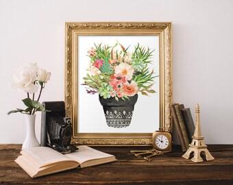 Botanical print, Printable floral art, Flower print, Home decor, Flower art, Flower printable, Floral wall decor, Watercolor print, BD-672