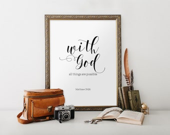 Bible verse art print, Inspirational quote, Typography wall art quote, Scripture art printable, Calligraphy print, Matthew 19:26 BD-848