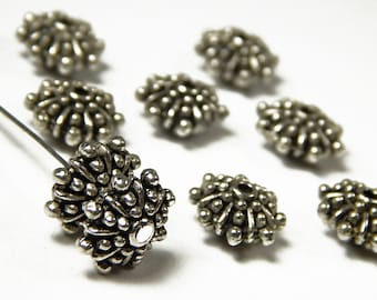 6 Pcs - 11x6mm Metal Spacer Beads - Puncta Flower - Tibetan Silver - Spacer Beads - Jewelry Supplies