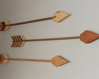 Wood Arrows, Nursery Decor, Bravery, Courage, Arrows, Decoration, Wall Arrow, Birch, Mahogany, Maple, Walnut, Handmade, Baby Room, Archery