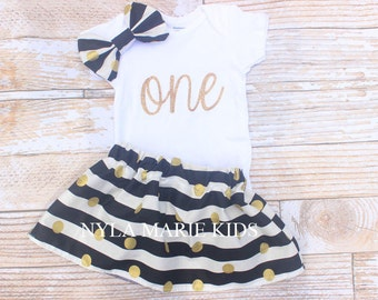 Black and Gold First Birthday Outfit, Girls Birthday, Baby twirl skirt, toddler birthday, smash the cake outfit,