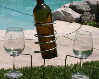 Wine holder, Wine Glass Holder,  stainless steel  Wine Bottle holder, beer holder, beverage holder.