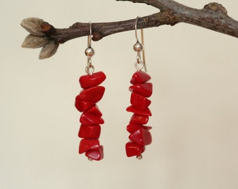 Sterling Silver Coral Earrings, Coral Dangle Earrings, Coral Earrings, Sterling Silver Earrings, Genuine Coral Earrings, Dangle Earrings