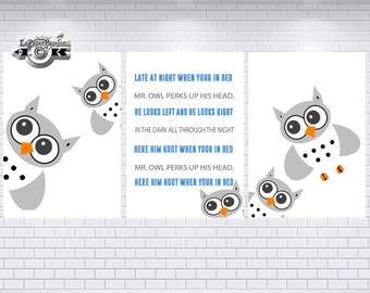 Nursery prints, Owl wall print, Owl print, Kid's wall print's, Nursery decor,Wall art, Owl baby print,