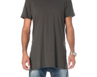Longline T-Shirt With Side Zips