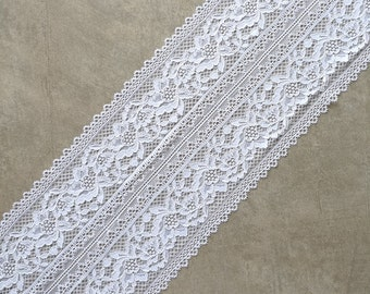 2m Stretch Lace, white color lace, white lace fabric, Elastic lace white, wide lace,  width 7,87 inch, lace 20 sm, lace per 2 metre,art-8033