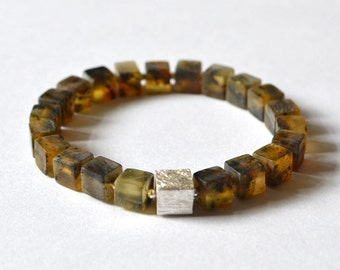 Baltic Amber bracelet /  Genuine Baltic amber jewelry beads / Amber and Silver