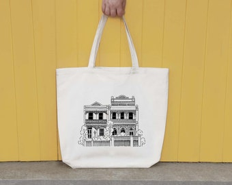 Vintage Australian Terrace House illustrated screen printed tote bag, shopping bag, market bag, canvas bag