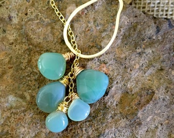 Five Stone Teardrop Shaped Green Chalcedony Lariat with Gold Brushed Pear Shaped Ring and Gold Fill Chain.
