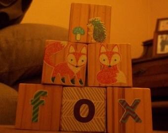 For a set of six, fox blocks, woodland blocks