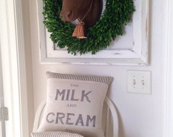 Pillow Cover, Milk and Cream, Farmhouse, Vintage Style, Country,Ticking