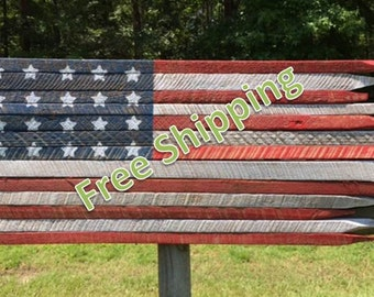 Rustic American Flag (20 Stars) Constructed from Vintage Tobacco Sticks (Free Shipping)