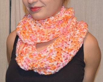 Infinite scarf - White - Pink - Orange
