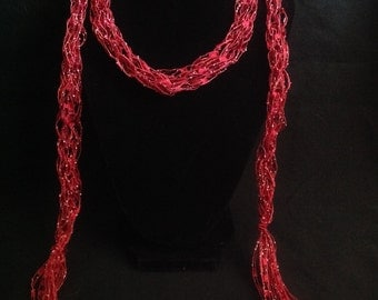 Cranberry Red Skinny Scarf