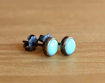 Arizona Turquoise Earrings, December Birthstone Studs, Sky Blue Turquoise stud earrings: Sterling Silver, Gold Filled, sleeping beauty
