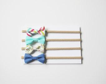 SALE! Baby Headbands | Baby Bows | Nylon Headbands | Chambray blue, turquoise, floral, herringbone. Set of 4 itty-bitty bow headbands