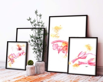 Watercolor Flowers Print Set Wall art, Floral Watercolor Wall art bedroom modern art free delivery