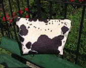 Zipper Pouch, Cow Print bag, Faux Fur Bag, Animal Print Bag, White and black, Handmade bag, Gifts under 20, cosmetic bag, Clutch bag, Gift