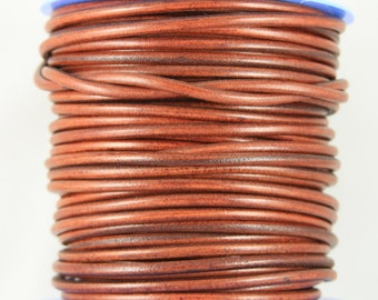 "MADE IN SPAIN 2 feet (24"") tabacco color round leather cord, 5mm round leather cord, spanish leather cord (5ANITAB)"