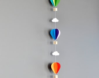 SINGLE Strand Hot Air Balloon Garland, Up Up and Away, Rainbow, Birthday Party Decor, Nursery Decor, Photo prop, Shower Decor