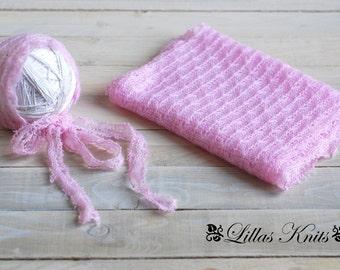 Newborn photography prop set-Newborn wrap-Newborn bonnet-Photo prop set-outfit-Newborn girl-Baby photo props-Fabric prop set
