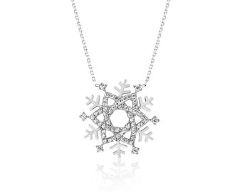 necklaces, Snowflake necklace, Silver necklace, cz diamond,925 k,gift,bycocosh ,teen,chain,White,Christmas Necklace