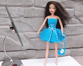 Blue Barbie dress, Crocheted Barbie dress and handbag, Doll clothes, Barbie outfit, Liv, Fashion Royalty, Disney princess, Gift for girl