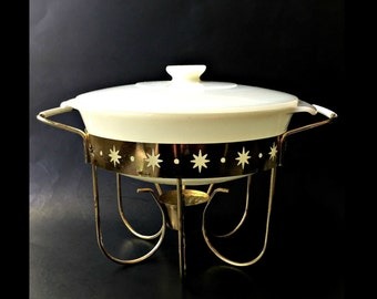 Mid Century Fire King Chafing Dish with Cradle. Milk Glass Casserole and Brass Warming Stand.